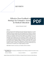 Effective Peer-Feedback as a Strategy for Formative Assessment in Medical Education