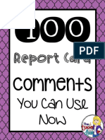 100 Report Card Comments