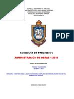 Pliego de Condiciones Proyecto Admon de Obras 1-2019