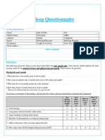 Sleep Questionnaire English