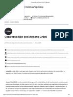 Conversación con Renato Cristi - El Mostrador