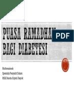 Puasa Ramadan bagi penderita Diabetesi