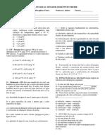 Lista de Física 2 Bimestre 2 Ano