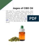 Advantages of CBD Oil