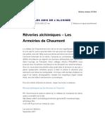 Rêveries Alchimiques – Les Armoiries de Chaumont _ Alchimie Pratique