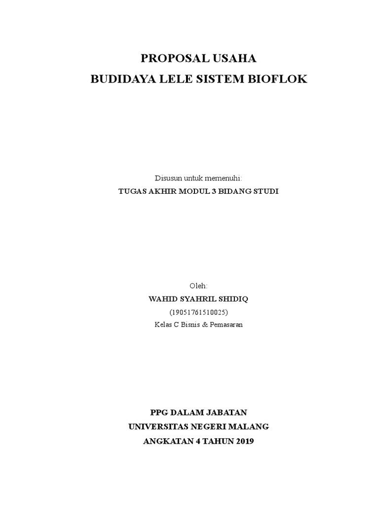 Proposal Usaha Budidaya Lele Sistem Bioflok Tugas Akhir Modul 3 Bidang Studi