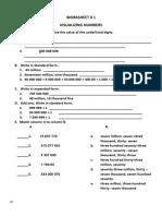 Math Worksheets Qtr. 1