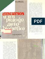 MARCEL, G., Dos Discursos y Un Prólogo Autobiográfico, 1967