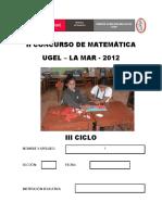 II Concurso de Matematica III - Ciclo 2012