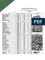 Lista de Precios Prefabricados 2019