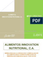 Brief Creativo de Alimentos Innovation Nutritional C.A.