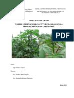 Posible utilizacion de aceite de tartago en la produccion de biocombustible