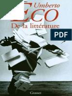 (Littérature Etrangère) Eco, Umberto - De la littérature.epub