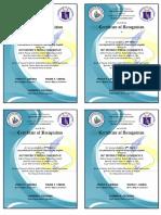 Certificate of Recognition Collaborative Desktop Publishing