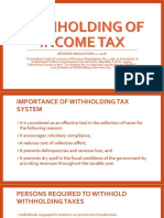 Withholding of Income Tax