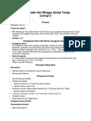 Tata Ibadah Gereja Toraja Model 1 Dan 2 Docx