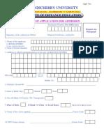 Pondicherry Admission Form