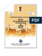 Enlistment Rule for Contractor in CPWD