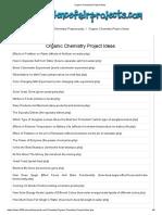 Organic Chemistry Project Ideas