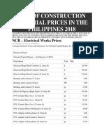 Construction Materials 2018 Philippines Price