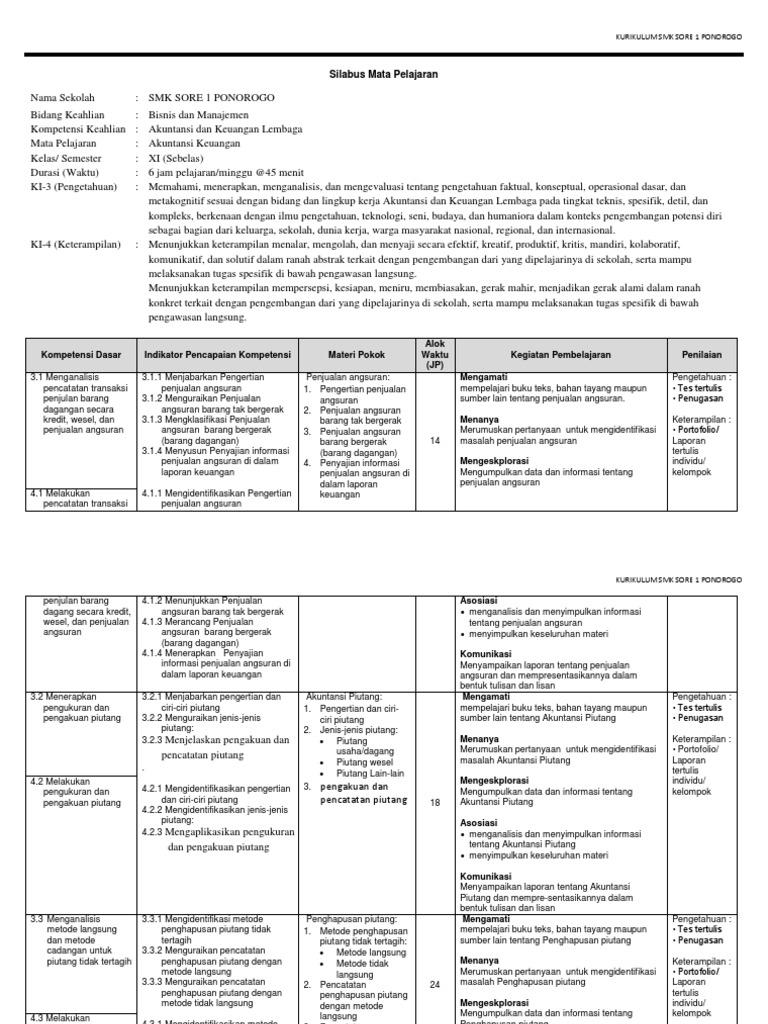 Silabus Akuntansi Dasar K13 Revisi Sekolah