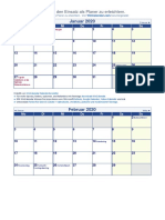 Monatskalender 2020 Klein Feiertage