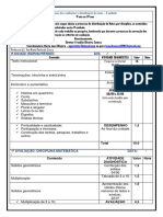 Cronograma Das Avaliações e Distribuição de Notas