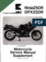 Kawasaki GPX 250 R Ninja250R (EX250 F2-F19) '88 a '05 - Service Manual Supl