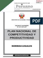 PLAN NACIONAL DE COMPETITIVIDAD Y PRODUCTIVIDAD