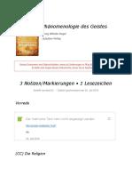 Notizen Aus _Phänomenologie Des Geistes