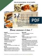 Menu de La Cuisine de Meme Moniq 20 Au 26 Juillet