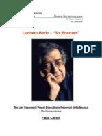Berio, Six Encores - tesina