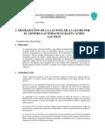DEGRADACION DE LA LACTOSA DE LA LECHE POR EL GENERO LACTOBACILUS HASTA ACIDO LACTICO