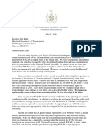 Maryland General Assembly Letter to Sec Rahn Re WMATA Withholding
