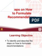 11 Steps on How to Formulate Recommendations