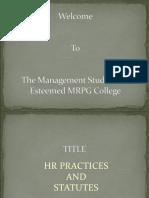 Ppt on Hr Practices & Statutes