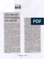 Manila Standard, July 29, 2019, Solon sides with Du30 in quashing anti-endo bill.pdf
