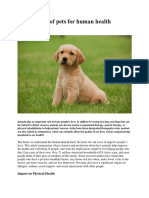 The Benefits of Pets for Human Health