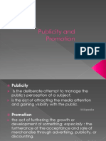 Publicity and Promotion