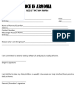 Voce in Armonia Registration Form