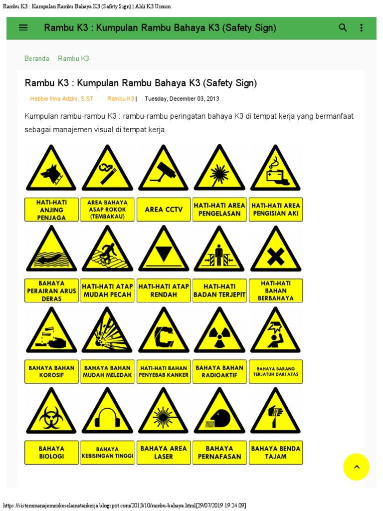 Rambu K3 Kumpulan Rambu Bahaya K3 Safety Sign Ahli K3 Umum