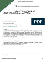 O Processo de Colonização e Urbanização da Amazônia