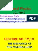 Lecture No 1213 the Mechanics of Non Viscous Fluids 1