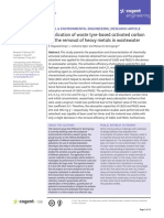 Application of Waste Tyre Based Activated Carbon for the Removal of Heavy Metals in Wastewater