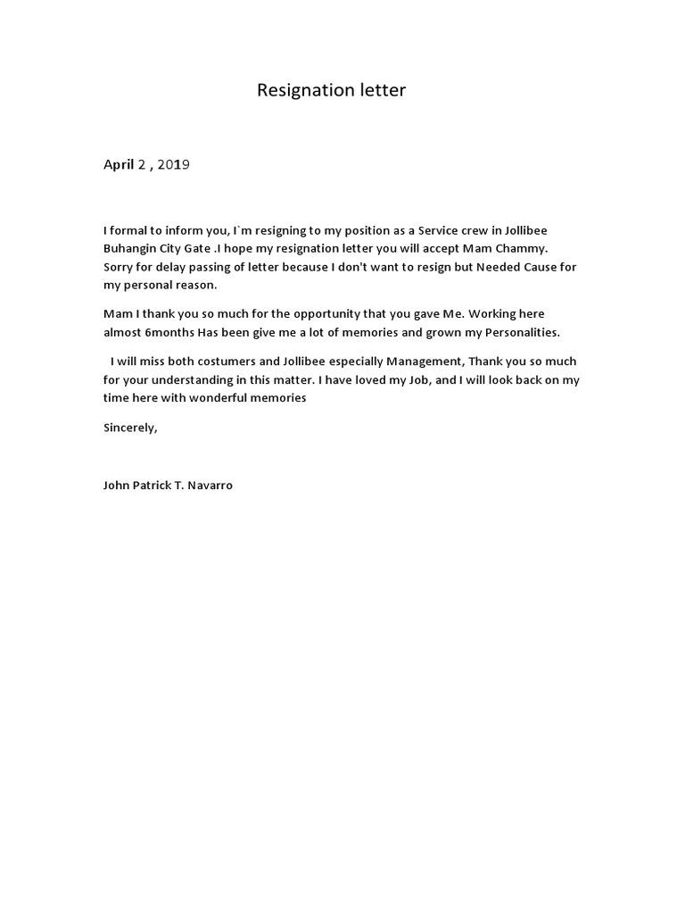 Resignation Docx