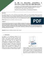 Informe Calibración de La Balanza de Analitica y de Tres Brazos
