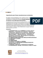 Capacitación Para Pymes Manufactureras de Alimentos
