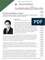 El Mercurio Inversiones - El Acierto Del Banco Central