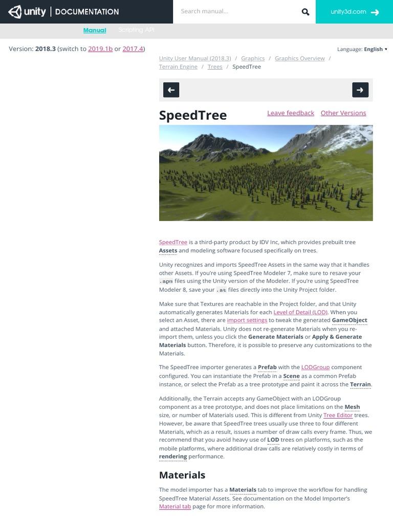 Unity - Manual: SpeedTree | Unity (Game Engine) | Computing