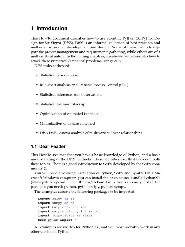 DfSS_SciPy | Design For Six Sigma | Statistics